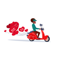 African american woman riding retro motor bike vector
