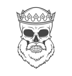 Bearded Skull King with Crown design vector image