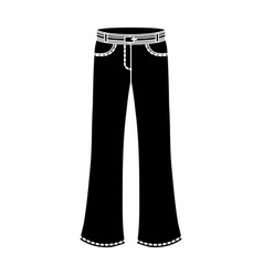 blue jeans with a belthippy single icon in black vector image