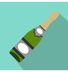 Bottle of champagne flat icon vector image vector image