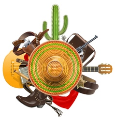 Cowboy concept with sombrero vector