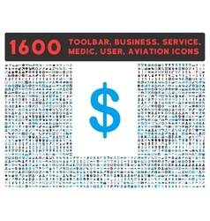 Dollar Icon with Large Pictogram Collection vector image vector image
