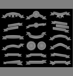 Embroidered silver ribbons and stumps pack vector