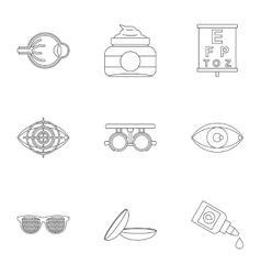 Eye exam icons set outline style vector