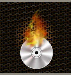 grey digital burning disc with fire and flame vector image vector image