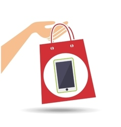hand holds bag gift phone design vector image vector image