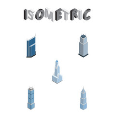 Isometric skyscraper set of residential apartment vector