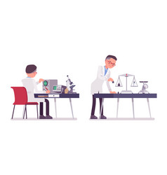 Male scientist measuring vector