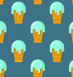 Mint ice cream seamless pattern Cool dessert in vector image