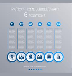 monochrome blue bubbles chart infographics for 6 vector image