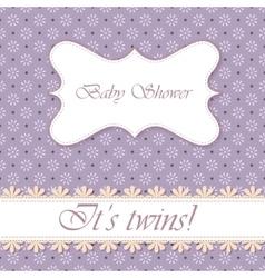 Polka dot flowers baby shower twins vintage vector image vector image