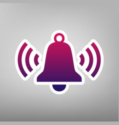 Ringing bell icon purple gradient icon on vector