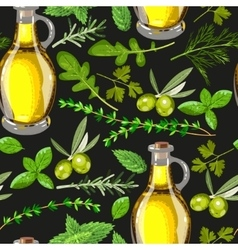 Seamless olive oil and herbs vector image vector image