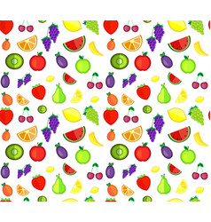 seamless pattern of colorful cartoon fruit vector image vector image