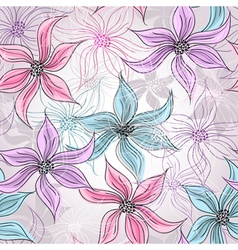 Seamless silvery floral pattern vector image