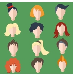 Set isolated men women wigs vector image