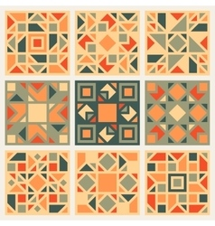 Set of Nine Geometric Square Quilt Retro vector image