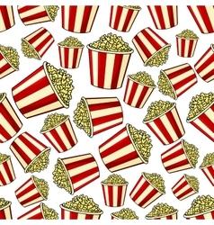 Sweet popcorn seamless pattern background vector image