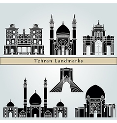 Tehran landmarks and monuments vector