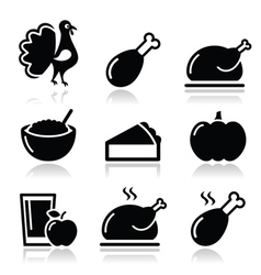 Thanksgiving Day food icons set - turkey pumpkin vector image vector image