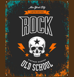 Vintage rock t-shirt logo isolated on dark vector