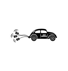 Wedding car with banks simple icon vector