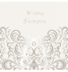 Wedding invitation card with lace shinny ornament vector