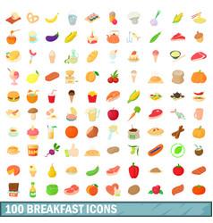 100 breakfast icons set cartoon style vector