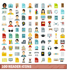 100 reader icons set flat style vector