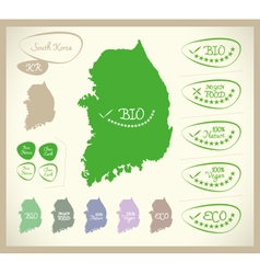Bio map kr south korea vector