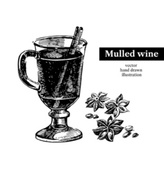 Hand drawn sketch cocktail mulled wine vintage vector image