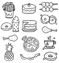 Doodle of food breakfast lunch or dinner vector