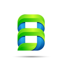 3d number eight 8 logo with speed green leaves vector