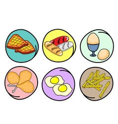 A Set of Breakfast on Round Background vector image