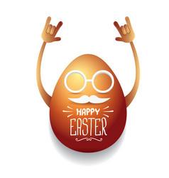 Happy easter card with rock n roll egg vector