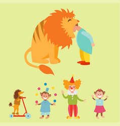 Circus funny animals set of icons cheerful vector