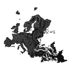 Europe at night as engraving vector