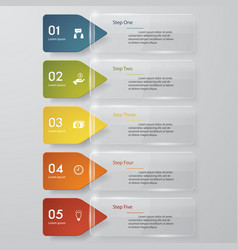 5 steps color transparent banner template vector
