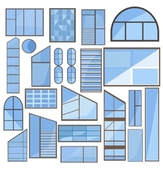Set isolated window glass frame vector