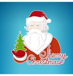 Santa claus holds green christmas tree vector