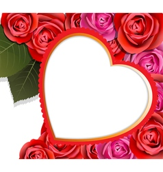 Heart and roses valentines background vector