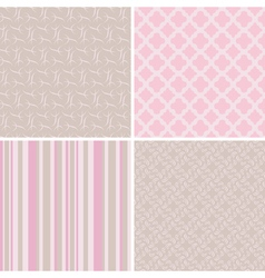 4 delicate seamless patterns vector