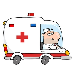 Doctor driving ambulance vector