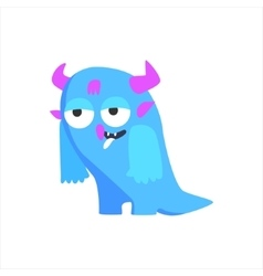 Blue childish monster with horns vector