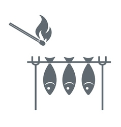 Barbecue fish grill and matches icon vector