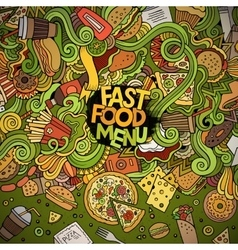 Cartoon doodles fast food frame design vector