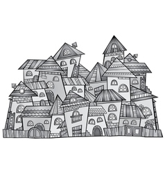 cartoon grayscale construction town vector image