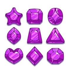 Cartoon purple different shapes gems vector image vector image