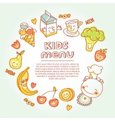 Child and baby food kids menu with colorful vector image