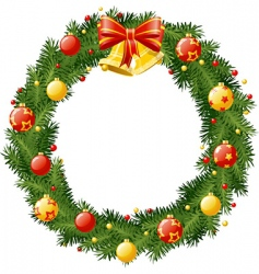 christmas wreath with golden b vector image vector image